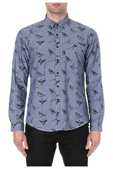 BARBOUR Bird-print chambray shirt