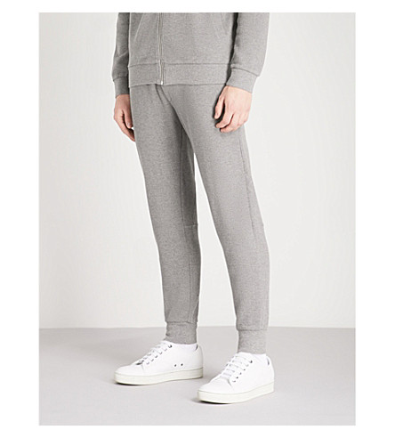 BARBOUR Grip relaxed-fit cotton-jersey jogging bottoms (Mid+grey+marl