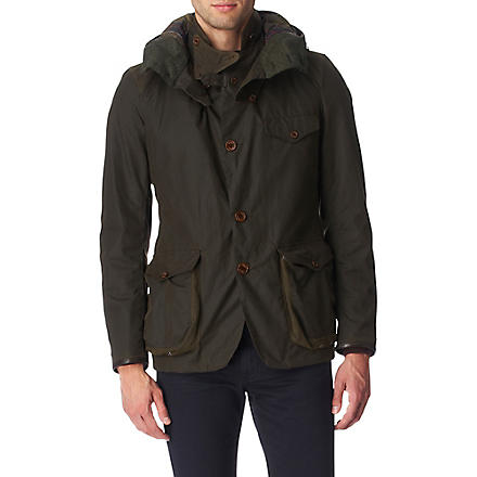 BARBOUR Waxed-cotton sport jacket (Olive