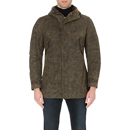 BARBOUR Mills 8oz hooded waxed-cotton jacket (Olive