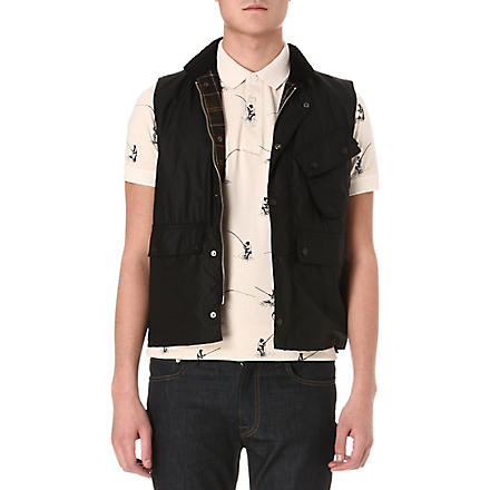BARBOUR Waxed-cotton gilet (Black