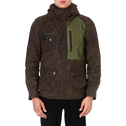 BARBOUR Reflective waxed-cotton jacket (Olive