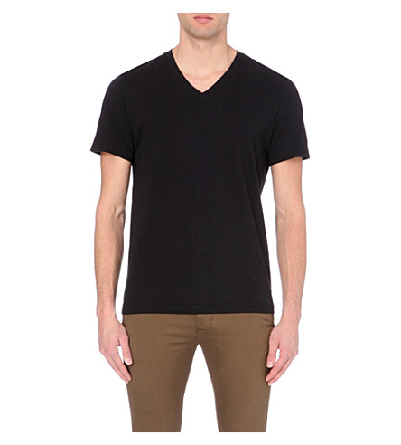 JAMES PERSE V-neck cotton t-shirt (Black+blk