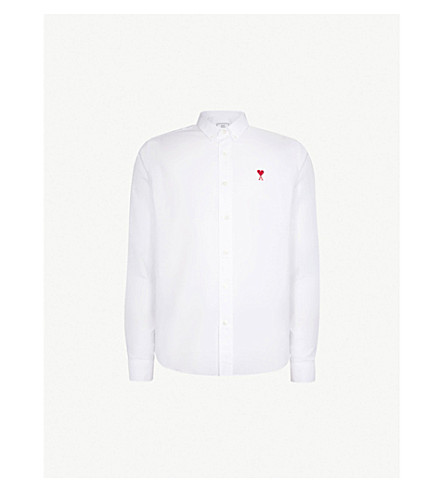 AMI ALEXANDRE MATTIUSSI Ami de Coeur embroidered regular-fit cotton-Oxford shirt (White/100
