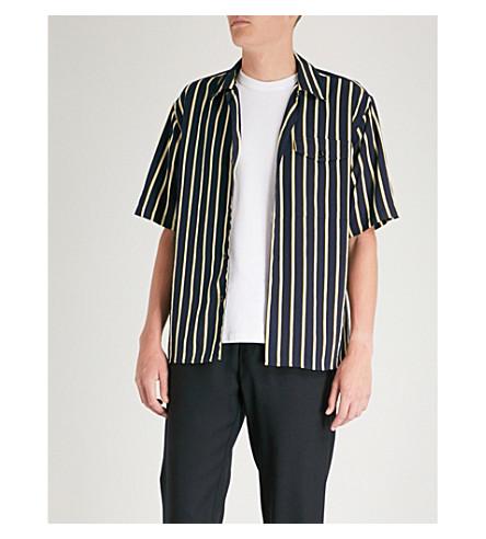 AMI条纹花纹斜纹衬衫 (海军/黄色