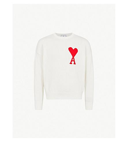 AMI Ami de Coeur embroidered cotton jumper (Off+white