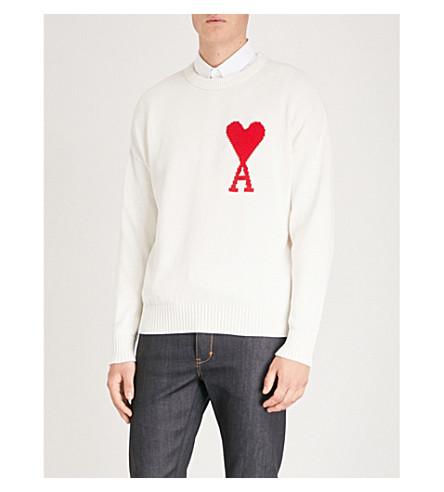 AMI ALEXANDRE MATTIUSSI Ami de Coeur embroidered cotton jumper (Off+white