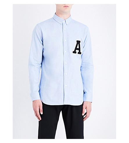 AMI ALEXANDRE MATTIUSSI Appliqué-letter regular-fit cotton shirt (Sky