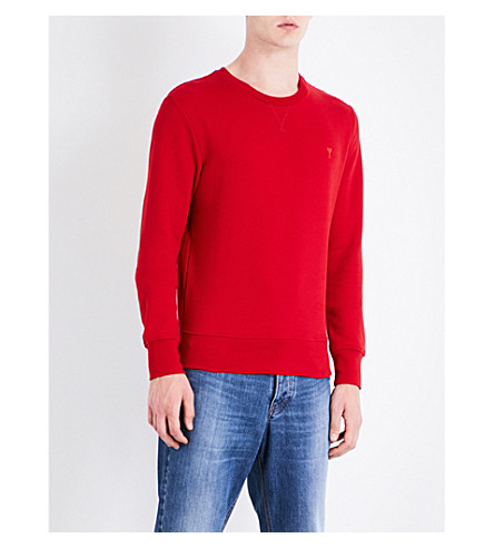 AMI ALEXANDRE MATTIUSSI Fleece-lined cotton-piqué sweatshirt (Red
