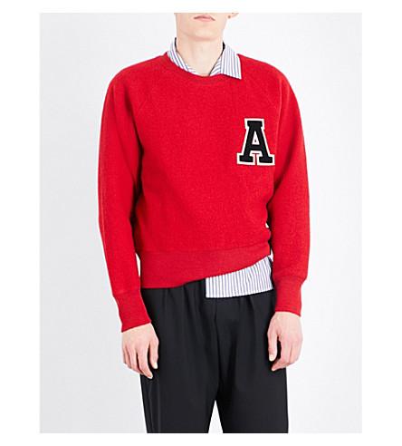 AMI ALEXANDRE MATTIUSSI Appliqué letter wool sweatshirt (Red