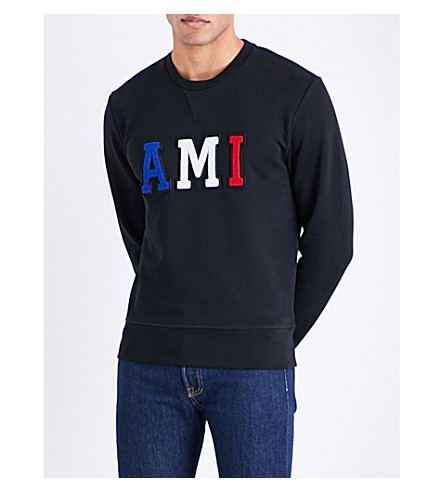 AMI ALEXANDRE MATTIUSSI Logo-embroidered cotton-jersey sweatshirt (Black