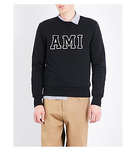 AMI ALEXANDRE MATTIUSSI Logo-embroidered cotton sweatshirt (Black