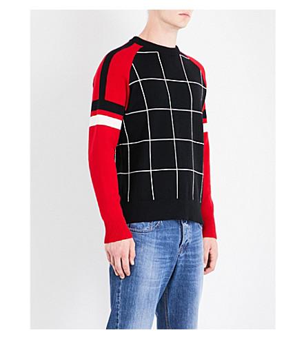 AMI ALEXANDRE MATTIUSSI Windowpane check knitted jumper (Black