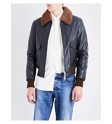 AMI ALEXANDRE MATTIUSSI Shearling collar leather jacket (Black