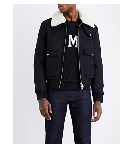 AMI ALEXANDRE MATTIUSSI Shearling-collar wool-blend jacket (Navy