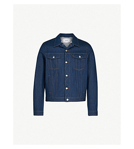 AMI Logo-appliquéd denim jacket (Indigo/402