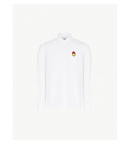 AMI Logo-print cotton oxford shirt (Blanc
