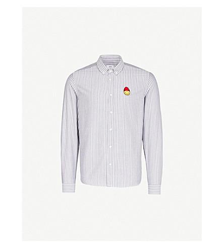 AMI Striped regular-fit cotton shirt (Noir/blanc