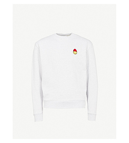 AMI Smiley cotton-jersey sweatshirt (Gris