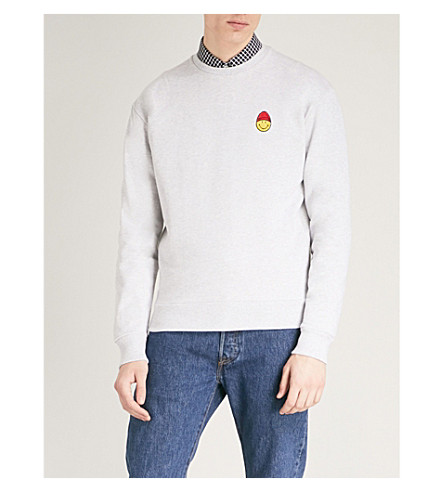 AMI ALEXANDRE MATTIUSSI Smiley cotton-jersey sweatshirt (Gris