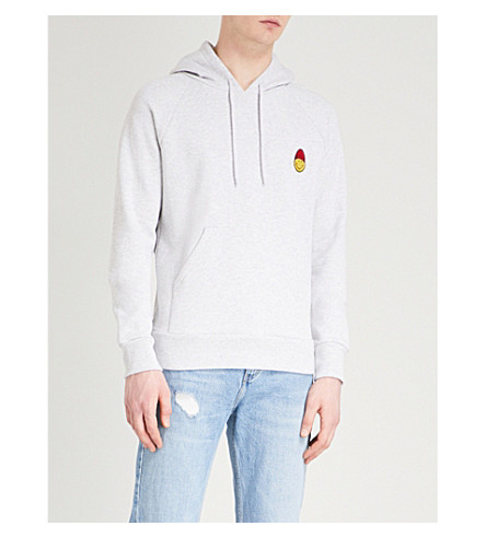 AMI ALEXANDRE MATTIUSSI Smiley-embroidered cotton-jersey hoody (Gris