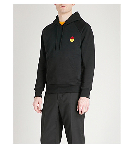 AMI ALEXANDRE MATTIUSSI Smiley-embroidered cotton-jersey hoody (Noir