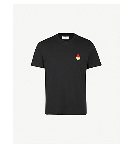 AMI Smiley cotton-jersey T-shirt (Noir