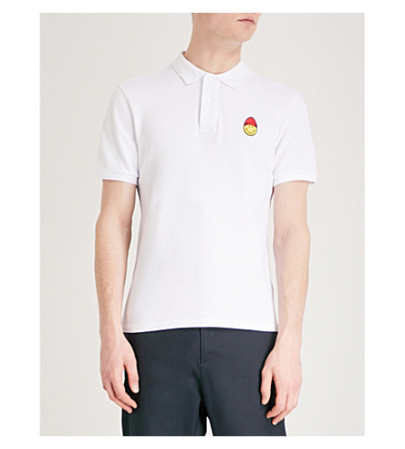 AMI ALEXANDRE MATTIUSSI Smiley cotton polo shirt (Blanc