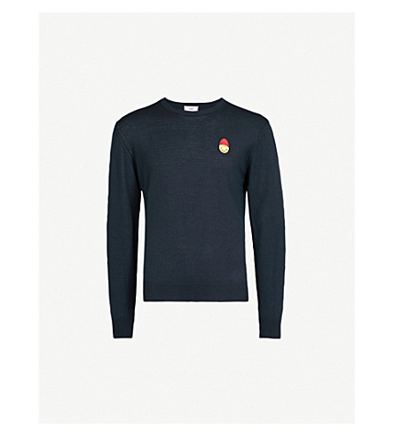 AMI Smiley-embroidered knitted wool jumper (Marine