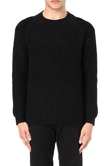FARRELL Leather patch ribbed knit jumper