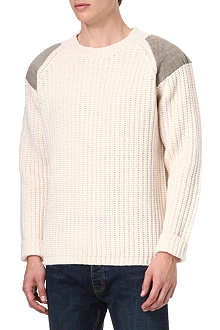 FARRELL Cable-knitted leather-patch jumper