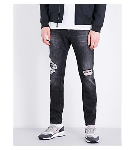 CALVIN KLEIN Slim-fit tapered stretch-denim jeans (Black+jack+destructed
