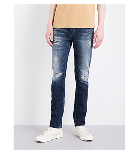 CALVIN KLEIN Slim-fit tapered mid-rise jeans (Derby+blue+destruct