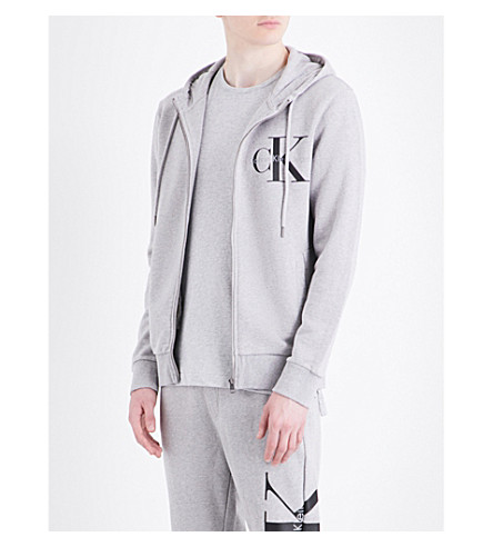 CALVIN KLEIN Logo-print cotton-jersey hoody (Light+grey+heather