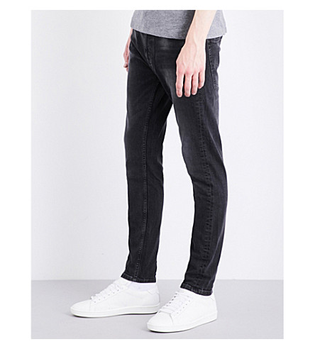 CALVIN KLEIN Slim-fit skinny mid-rise jeans (Rumble+black