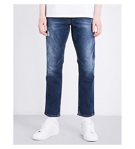 CALVIN KLEIN Slim-fit skinny mid-rise jeans (Blue+dest