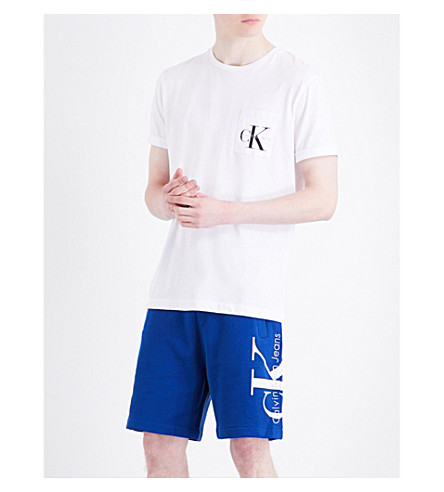 CALVIN KLEIN Bolan True Icon cotton-jersey T-shirt (Bright+white