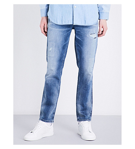 CALVIN KLEIN Sculpted slim-fit mid-rise jeans (Bang+on+blue
