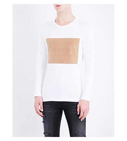 CALVIN KLEIN Logo-print cotton T-shirt (Bright+white-pt