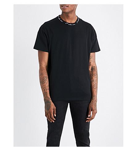 CALVIN KLEIN Brand-print cotton-jersey T-shirt (Ck+black