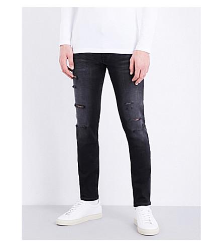 CALVIN KLEIN Distressed slim-fit skinny jeans (Washed+black