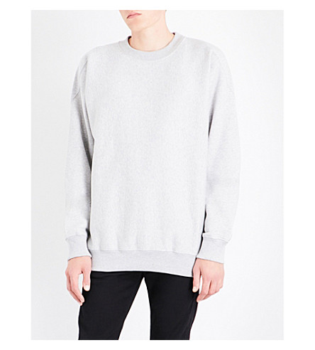 CALVIN KLEIN Oversized cotton-blend sweatshirt (Light+grey+heather