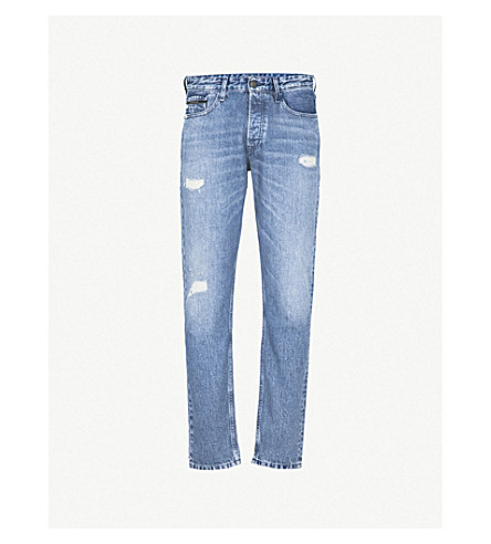 CALVIN KLEIN JEANS Regular-fit distressed tapered jeans (Irvin+blue