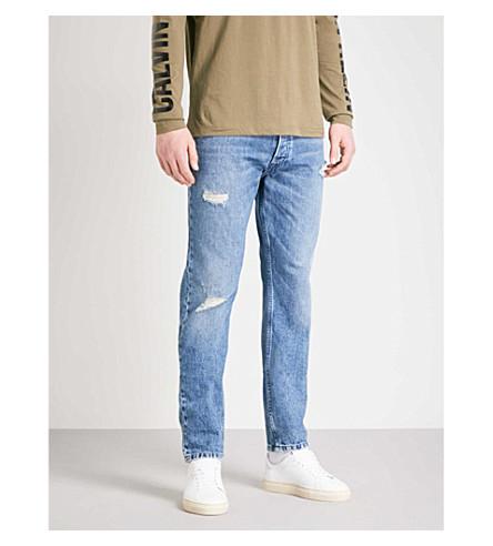 CALVIN KLEIN 牛仔裤常规版型仿旧锥形牛仔裤 (欧文 + 蓝
