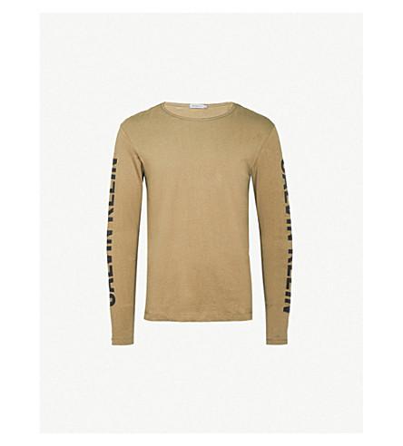 CALVIN KLEIN JEANS Tao long-sleeved printed cotton-jersey top (Khaki