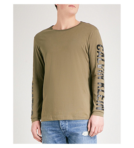 CALVIN KLEIN JEANS Tao long-sleeved printed cotton-jersey top (Khaki