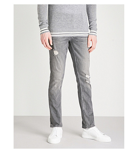 CALVIN KLEIN JEANS Sculpted slim-fit straight jeans (Cavern+destructed
