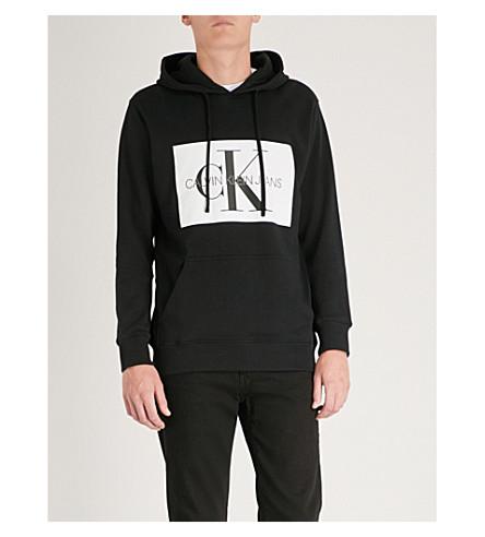 CALVIN KLEIN 牛仔裤字母盒平纹针织棉帽衫 (Ck + 黑色