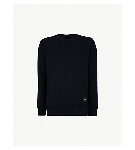 CK JEANS徽标后面板平纹针织棉卫衣 (Ck + 黑色