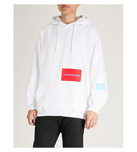 CK JEANS Multi-patch cotton-blend hoody (Bright+white+/+sky+blue